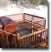 cabin deck in the snow