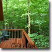cabin deck in the woods