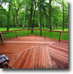 tigerwood cabin deck with trees